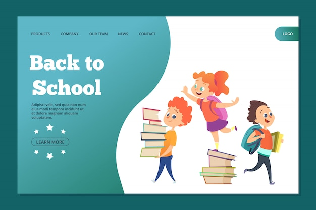 Back to school landing template. web banner with cartoon students