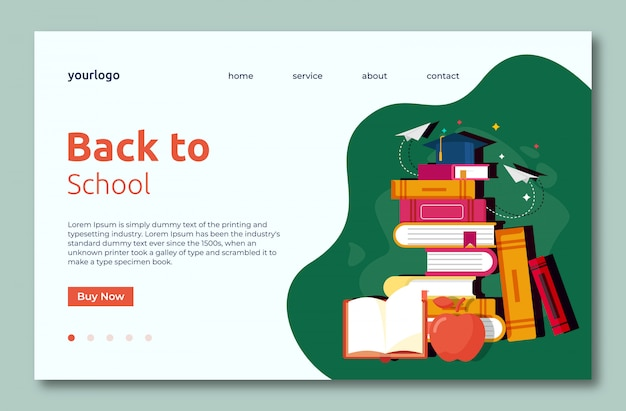 Back to school landing web template page with books
