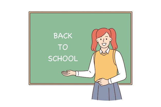 Back to school and learning concept. young smiling girl pupil cartoon character standing near blackboard with lettering on it showing excitement vector illustration