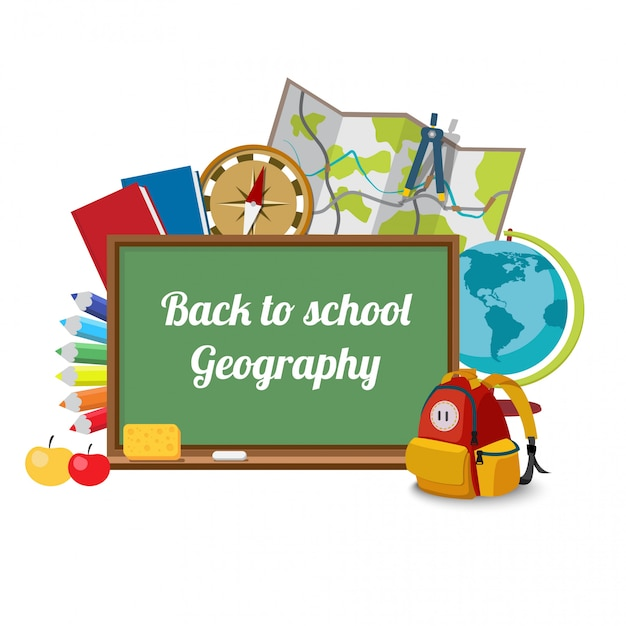 Back to school, lesson geography with briefcase, board and books.