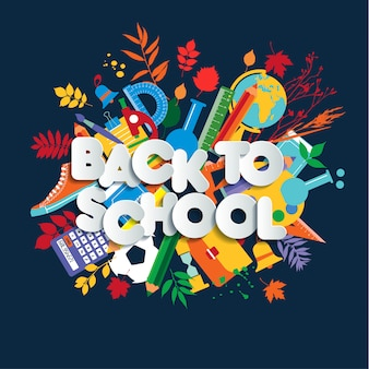 Back to school lettering, colorful kid illustration with class supplies.