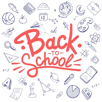 Back to school lettering in doodle circle frame on white background. hand drawn education sketch supplies. typography back to school for banners, posters, flyers.