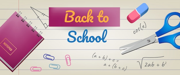 Back to school lettering on lined paper with eraser and scissors