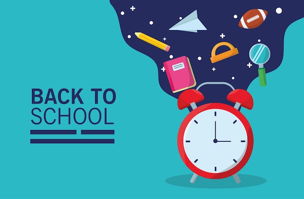 Back to school lettering season with alarm clock and supplies flow