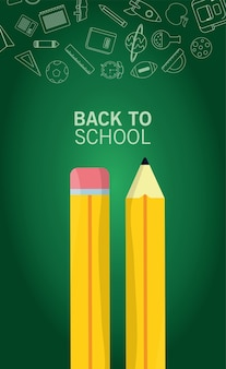 Back to school lettering season with pencils and supplies in chalboard background