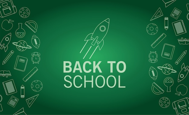 Back to school lettering season with rocket in chalboard background