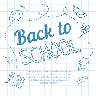 Back to school lettering on squared paper and doodles