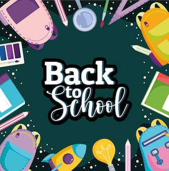 Back to school lettering supplies stationery elements background  illustration