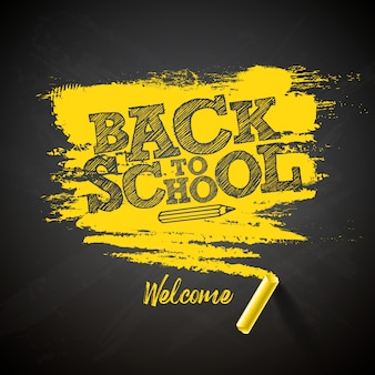 Back to school lettering with chalk and typography lettering on black chalkboard