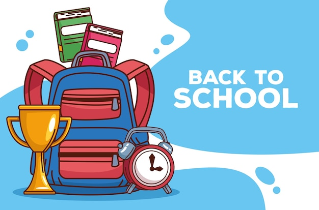 Back to school lettering with schoolbag and icons