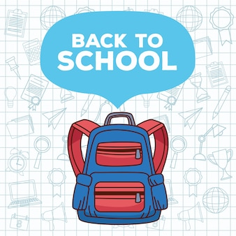 Back to school lettering with schoolbag and set accessories