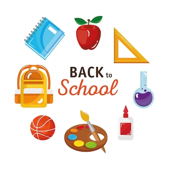 Back to school lettering with set tool around