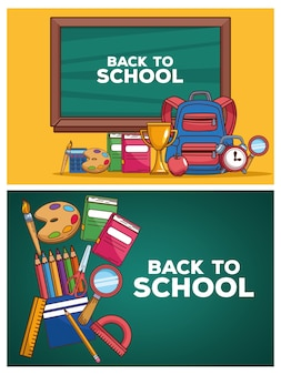 Back to school letterings in chalkboards with set icons