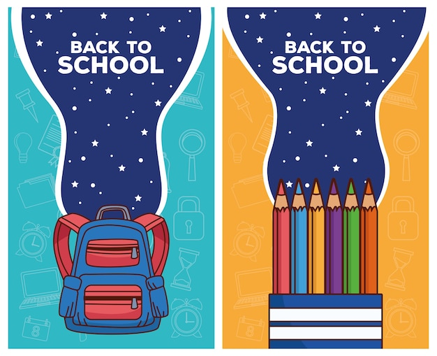 Back to school letterings with schoolbag and colors pencils