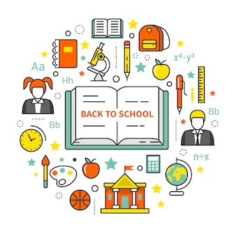 Back to school line art thin vector icons set.