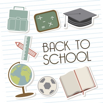 Back to school over lines background vector illustration
