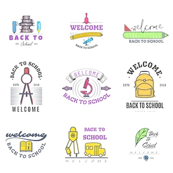 Back to school logos and badges