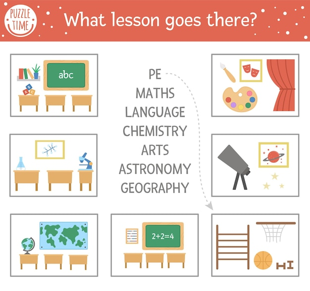 Back to school matching activity with school subjects. puzzle with different classrooms. cute lesson educational riddle. find the correct word printable worksheet. simple language game for kids