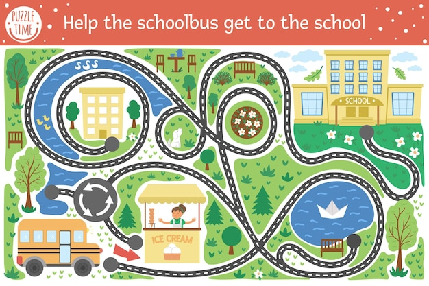 Back to school maze for children. preschool printable educational activity. funny puzzle with cute school bus, houses, trees, park. help the bus get to school. autumn game for kids.