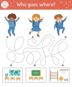 Back to school maze for children. preschool printable educational activity. funny puzzle with cute schoolchildren and classrooms. who goes where? autumn game for kids with pupils.