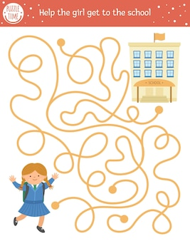 Back to school maze for children. preschool printable educational activity. funny puzzle with cute schoolgirl. help the girl get to the school. autumn game for kids with pupil.