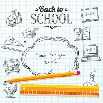 Back to school message on paper with speech bubble