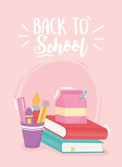 Back to school, milk box lunch pencils and book, elementary education cartoon