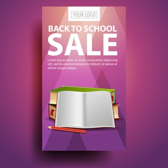 Back to school, modern, stylish vertical banner for your business with school textbooks
