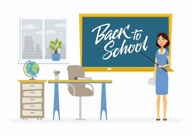 Back to school - modern vector character illustration of young geography female teacher holding a pointer stick, baton at the blackboard with hand written calligraphy lettering in the classroom.