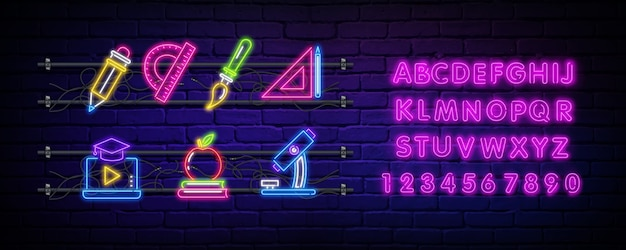 Back to school neon sign and alphabet.