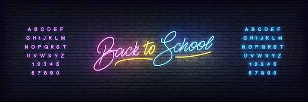 Back to school neon template. glowing back to school lettering concept
