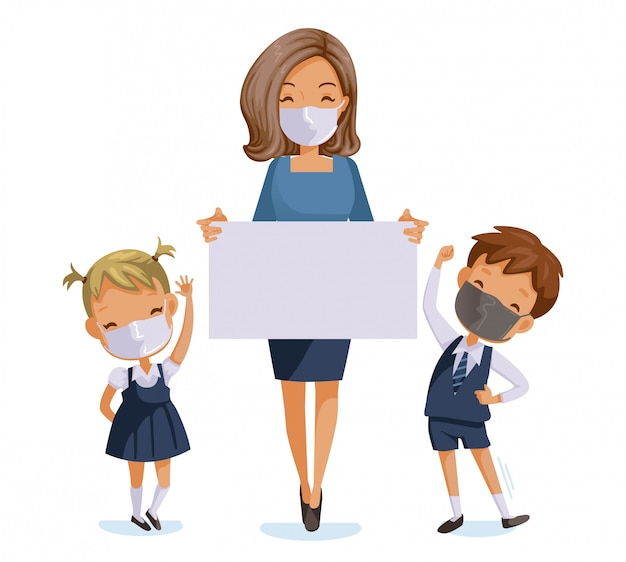 Back to school for new normal concept. children and teachers wearing sanitary masks.