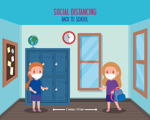 Back to school for new normal lifestyle concept, girls wearing medical mask and social distancing protect coronavirus covid 19, in school