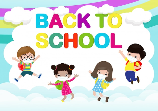 Back to school for new normal lifestyle concept. happy group of kids wearing face mask and social distancing protect coronavirus covid 19, children and friends go to school isolated