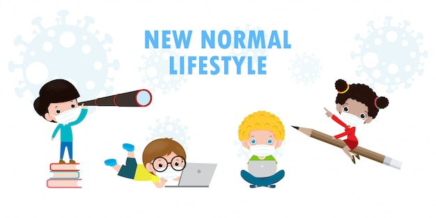 Back to school for new normal lifestyle concept. happy group of kids wearing face mask and social distancing