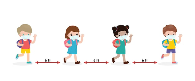 Back to school for new normal lifestyle concept happy kids wearing face mask and social distancing