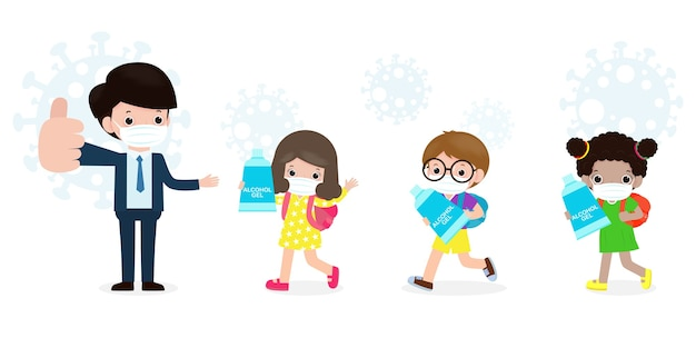 Back to school for new normal lifestyle concept. happy students cute kids with teacher wearing face mask and alcohol gel or hand wash gel and social distancing protect coronavirus or covid-19 healthy