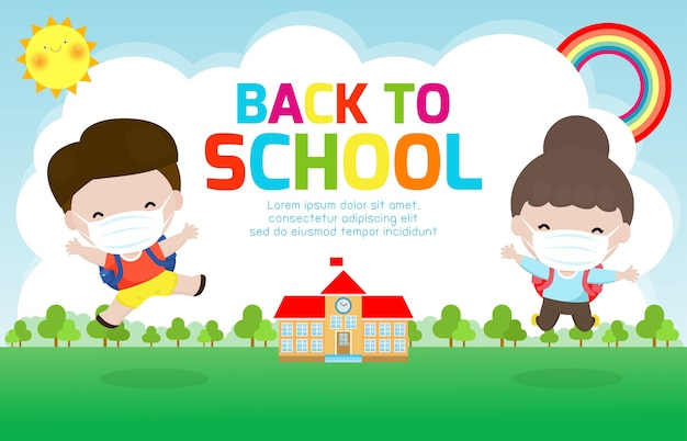 Back to school for new normal lifestyle concept.
