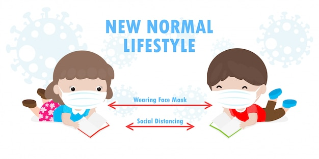 Back to school for new normal lifestyle social distancing in class room concept, prevention tips infographic of coronavirus 2019 ncov. little boy and girl reading book and wearing mask in classroom