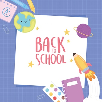 Back to school, notebook crayon pencil paper purple grid background education cartoon