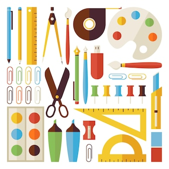 Back to school objects and office instruments set isolated over white. flat style vector colorful objects. collection of science and education templates. university and college. office life