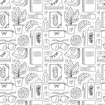 Back to school, office stuff, stationery. seamless pattern black doodle design.