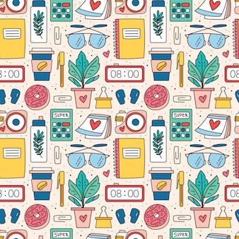Back to school, office stuff, stationery. seamless pattern