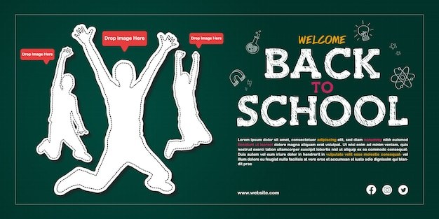 Back to school open admission announcement poster template