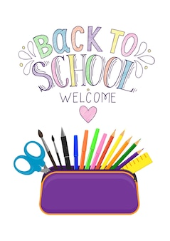 Back to school open pencil case with zipper full of stationery hand pen drawn lettering
