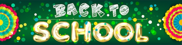 Back to school panorama banner with confetti