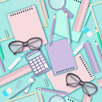 Back to school paper art seamless pattern with glasses pencil calculator and other school supplies