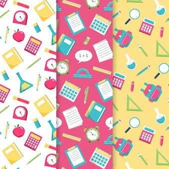 Back to school pattern collection flat design