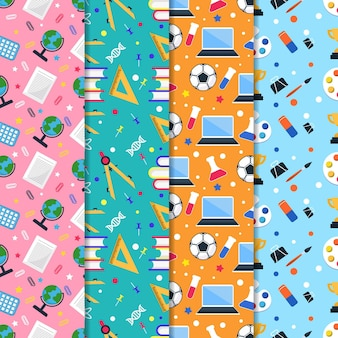 Back to school pattern collection in flat design