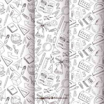Back to school pattern collection with black and white elements